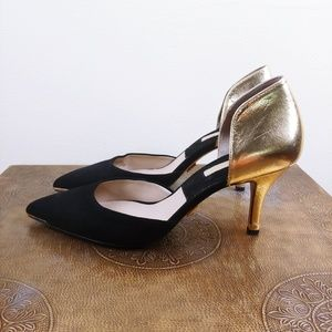 Michael Kors Gold and Black D'orsay heels